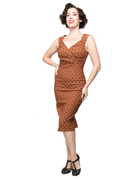 Polka Dot Diva Dress Rust