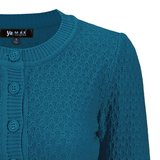 Cotton Cropped Cardigan Teal Blue