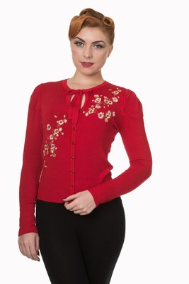 Last Dance Cropped Cardigan Red
