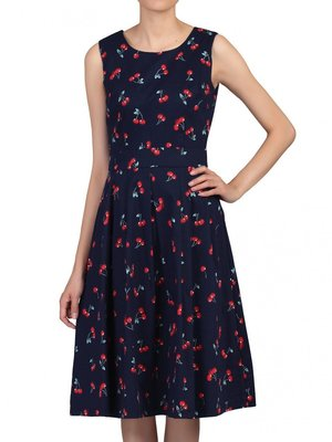 Jolie Moi Pleated Swing Dress Navy Cherry