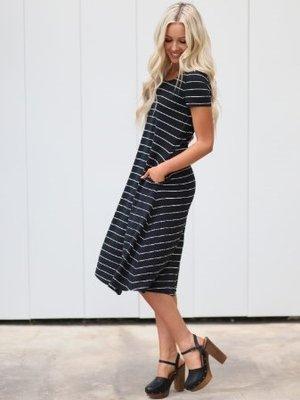 Mikarose Jenny Striped Dress Black