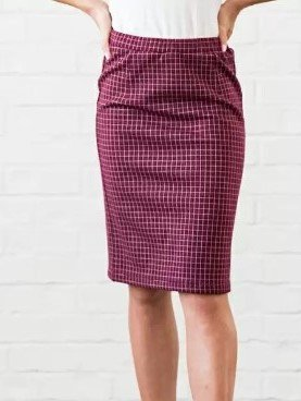 Mikarose Grid Pencil Skirt Burgundy