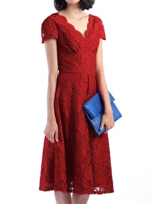 Cap Sleeve Lace Dress Red