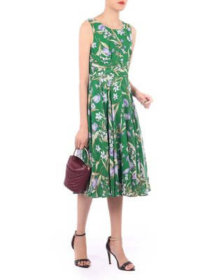 Floral Chiffon Midi Dress Green Floral