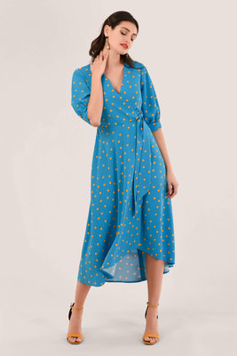 Closet Puff Sleeve Wrap Dress Blue