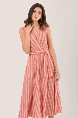 Closet Wrap Full Skirt Dress Peach