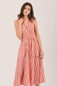 Closet Wrap Full Skirt Dress Peach