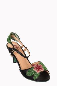 April Love Hibiscus Sandals Black