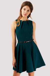 Closet Skater Belted Dress Bottle Green