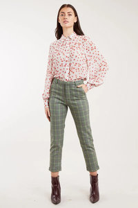 Jaylo Traditional Chek Slim Cropped Trousers