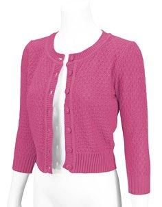Cotton Cropped Cardigan Magenta