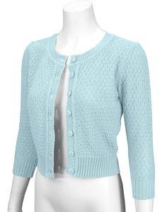 Cotton Cropped Cardigan Light Blue