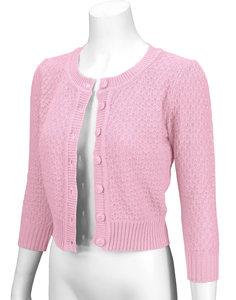 Cotton Cropped Cardigan Light Pink