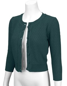 Cotton Cropped Cardigan Peacock