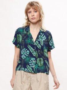 Marina Palm Leaf Bowling Shirt