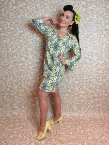 Flower Power Yellow & Grey Tunic Dress