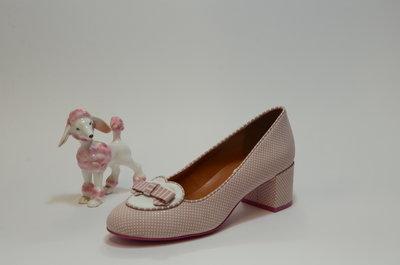 Cristofoli Apple Pink Polka Suède & White